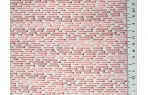 Tissu japonais patchwork Daiwabo rayures roses fond écru
