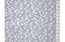 Tissu japonais patchwork Daiwabo rayures bleues fond écru