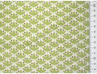 Tissu japonais patchwork Daiwabo feuilles vert pomme