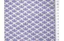 Tissu japonais patchwork Daiwabo feuilles bleues lavandes
