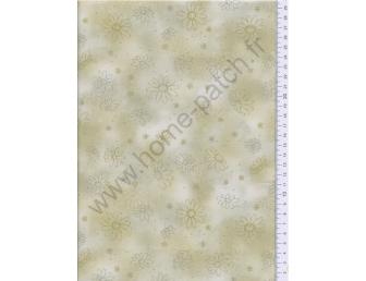 Tissu patchwork japonais Kumiko Minami marguerite fond vert kaki