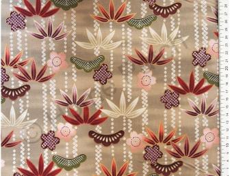 Tissu patchwork japonais avec feuilles de bambou