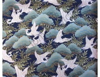 Tissu patchwork japonais avec dorures et grues écrues fond vert et bleu