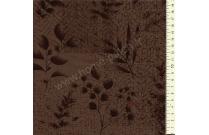 Tissu patchwork japonais LECIEN marron foncé avec feuillages