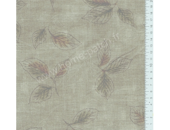 Tissu patchwork japonais LECIEN imprimé feuilles fond vert lichen