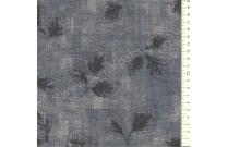 Tissu patchwork japonais LECIEN imprimé feuilles fond bleu