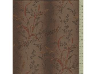 Tissu patchwork japonais LECIEN imprimé graminées fond marron