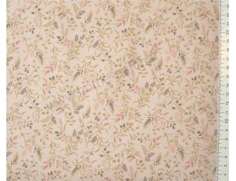 Tissu patchwork japonais LECIEN imprimé petites feuilles fond beige