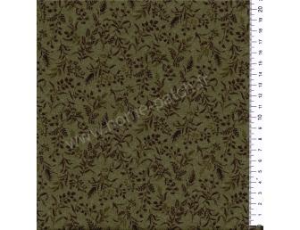 Tissu patchwork japonais LECIEN imprimé petites feuilles fond vert
