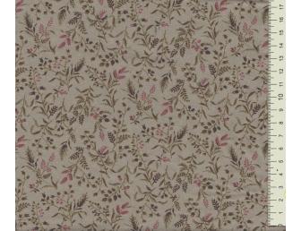 Tissu patchwork japonais LECIEN petites feuilles fond vert de gris