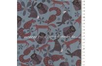 Tissu patchwork japonais Lynette Anderson pour Lecien animaux fond bleu