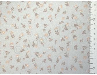 Tissu japonais patchwork LECIEN fleuri fond vert de gris