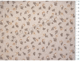 Tissu japonais patchwork LECIEN fleuri fond marron