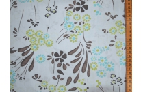 Tissu patchwork japonais Kei Fabrics pétales fond bleu