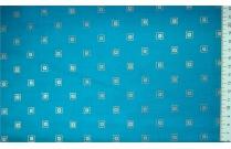 Tissu japonais patchwork LECIEN carrés gris fond turquoise