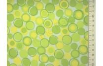 Tissu japonais patchwork LECIEN ronds verts et jaunes