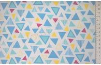 Tissu japonais patchwork LECIEN triangle bleu turquoise