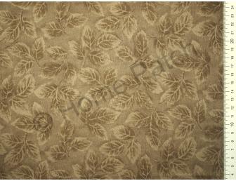 Tissu patchwork japonais LECIEN marron kaki avec feuilles