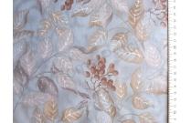 Tissu japonais patchwork LECIEN imprimé feuillage fond bleu gris