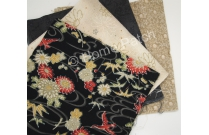 lot 4 coupons tissus patchwork japonais noir et beige