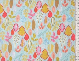 Tissu patchwork japonais avec feuilles stylisées