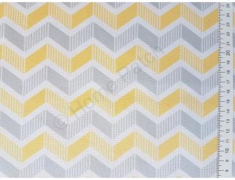 Tissu patchwork moderne grands chevrons gris et jaunes