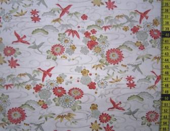 Tissu patchwork japonais SEVENBERRY oiseau écru