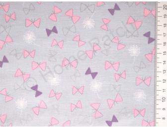 Tissu japonais patchwork LECIEN papillons roses fond gris