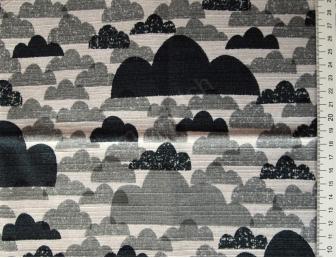 Tissu patchwork japonais épais LECIEN nuages gris et noirs