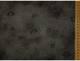 Tissu patchwork japonais fleuri fond marron foncé