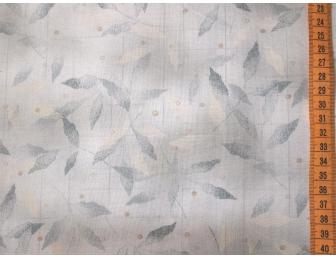 Tissu patchwork japonais feuilles grises bleutées fond clair