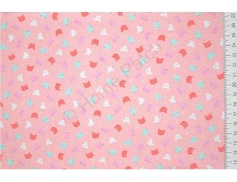 Tissu patchwork japonais LECIEN chats fond rose