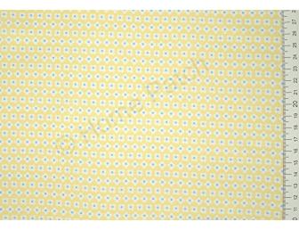Tissu patchwork japonais LECIEN fleurs blanches et bleues fond jaune