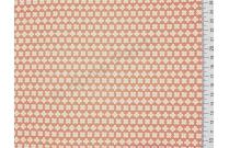 Tissu patchwork japonais LECIEN fleurs blanches et jaunes fond corail