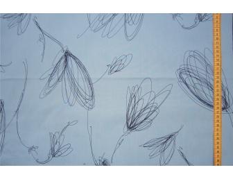Tissu patchwork japonais Kei Fabrics fleur fond bleu