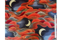 Tissu patchwork japonais avec dorures grandes vagues rouges et lune
