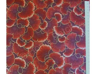 Tissu patchwork japonais feuilles ginkgo rouge brique et bordeaux