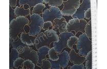 Tissu patchwork japonais feuilles ginkgo vert et bleu foncé