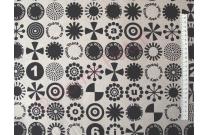 Tissu patchwork japonais lin et coton ronds noirs fond écru