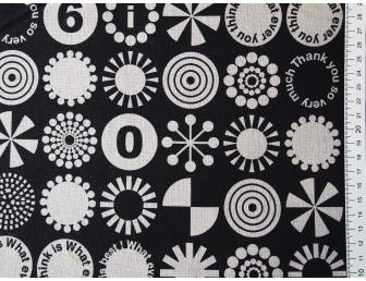 Tissu patchwork japonais lin et coton ronds écrus fond noir