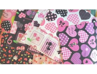 Lot coupons tissus japonais imprimés girly