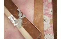 lot coupons tissus patchwork japonais rose saumon et marron