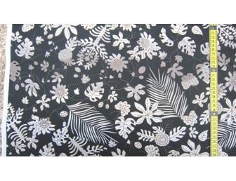 Tissu patchwork japonais F. NAKAYAMA feuilles fond noir