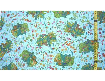 Tissu patchwork japonais F. NAKAYAMA arbre fond bleu