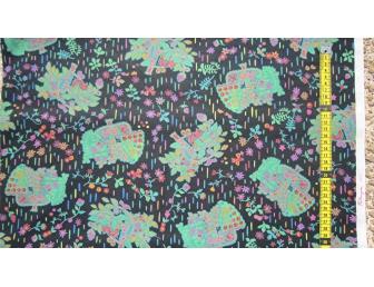 Tissu patchwork japonais F. NAKAYAMA arbres fond noir