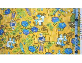 Tissu patchwork japonais F.NAKAYAMA oiseau fond moutarde
