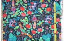 Tissu patchwork japonais F.NAKAYAMA oiseau fond foncé