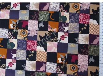 Tissu patchwork japonais Quilt Gate gros écossais avec chats