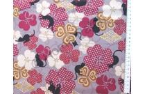 Tissu patchwork japonais Quilt Gate chats et trèfles bordeaux