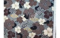 Tissu patchwork japonais Quilt Gate chats et trèfles marrons